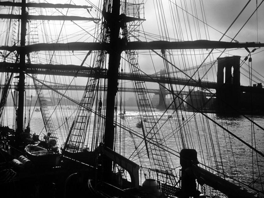 tall ship with brooklyn bridge&manhattan